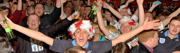 football fans in the pub